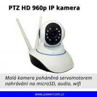 PTZ mini IP kamera Wi-fi HD 960p noční vidění + slot microSD, mikrofon